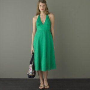 J. Crew Halter Deep V neck Dress Kelly Green
